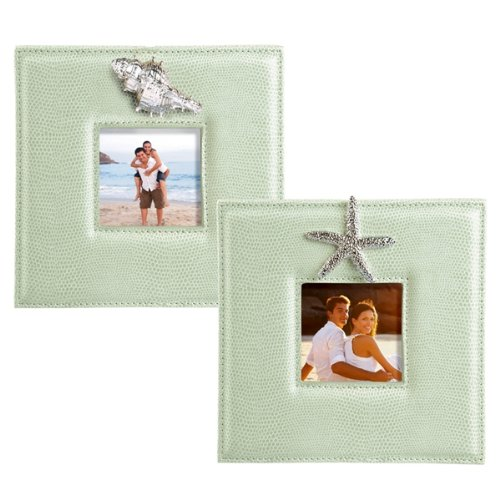 Grasslands Road Square Faux Leather Picture Frame Assortment, 6-Inch, Sea Green, Set Of 4