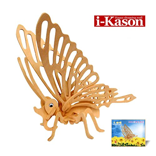 Authentic High Quality i-Kason® New Favorable Imaginative DIY 3D Simulation Model Wooden Puzzle Kit for Children and Adults Artistic Wooden Toys for Children - Small Butterfly
