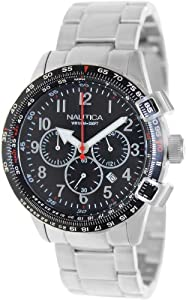Nautica Men's Bfc 44 A24005G Silver Stainless-Steel Quartz Watch with Black Dial