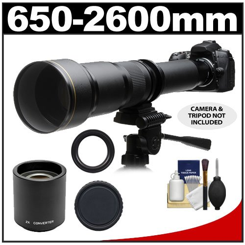 51CDfqStO7L Phoenix 650 1300mm Telephoto Zoom Lens with 2x Teleconverter (=650 2600mm) + Case + Tripod + Cleaning Kit for Canon EOS 60D, 7D, 5D Mark II III, Rebel T3, T3i, T4i Digital SLR Cameras