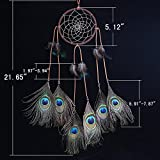 Cren® Handmade Circular Net Dream Catcher with peacock Feathers Car wall Hanging Decor Decoration Ornament Crafts Gift