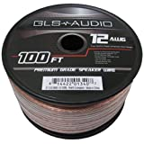 GLS Audio Premium 12 Gauge 100 Feet Speaker Wire - True 12AWG Speaker Cable 100-Feet Clear Jacket - High Quality...