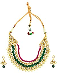Traditional Kundan Necklace Set With Earrings Red And Green Stones Bridal Festive Jewelry