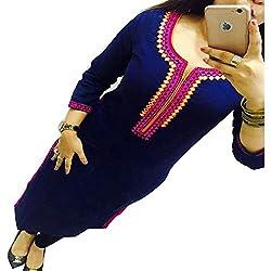 ZHot Fahion Women's Embroidered semi-stitched Selfie Kurti In Georgette Fabric (ZHKRT1011_Free Size_Blue)