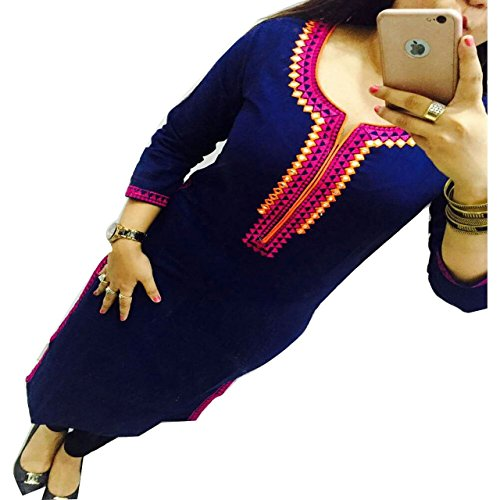 ZHot-Fahion-Womens-Embroidered-semi-stitched-Selfie-Kurti-In-Georgette-Fabric-ZHKRT1011Free-SizeBlue