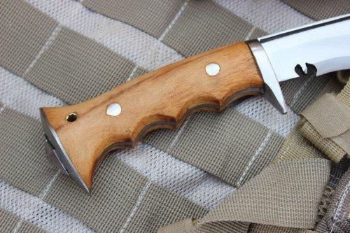 "Authentic Gurkha Kukri Knife - 8"" Blade Iraqi Angkhola Kukri with White Leather sheath-Handmade by Gurkha Kukri House in Nepal- Warehoused & Ship from USA"
