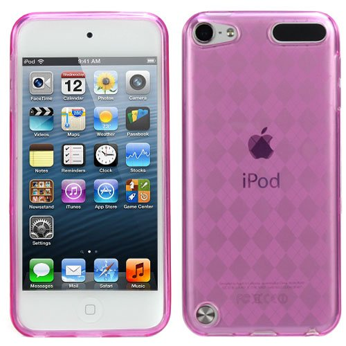 Evecase Ipod Touch 5 Case, Flexible Tpu Skin Checker Pattern Soft Cover Case For Apple Ipod Touch 5 5G 5Th Generation (2012 Version) (Hot Pink)