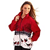ladies polyester robin design long sleeve printed fleece jacket with pockets (Medium (10-12), Red)