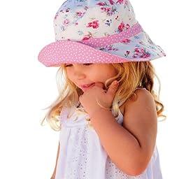 Millymook Girls Reversible Cotton Sun Hat Vintage Bucket -Pink, UPF50+ (2-5 Years)