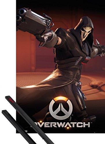 Poster + Sospensione : Overwatch Poster Stampa (91x61 cm) Reaper e Coppia di barre porta poster nere 1art1®