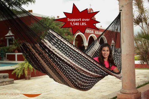"""Thick Cord Mayan Hammock XXL """"BLACK AND NATURAL COLOR"""" in COTTON"""