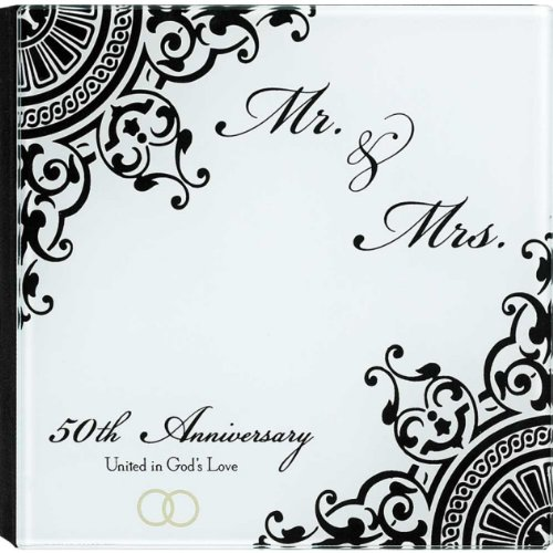 """Mr. & Mrs."" 50Th Anniversary United In God's Love Glass Frame Photo Album"