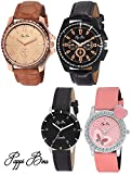 Pappi Boss Set of 4 Special Dual Couple Combo Leather Analog Casual Watches for Men, Women, Boys, Girls