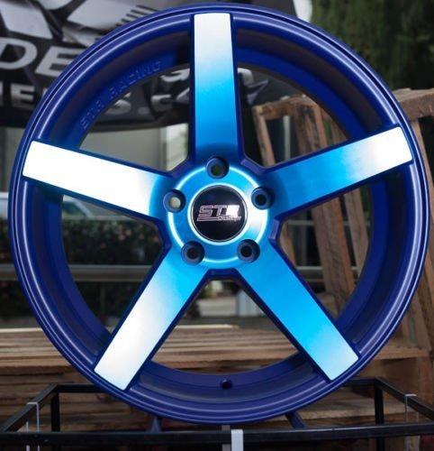 NEON BLUE STR 607 17X9 +15 5X114.3 RIM FIT TC XB TSX RSX MR2 CIVIC MUSTANG GT (Str Rims 17 Inch compare prices)