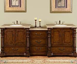 Silkroad Exclusive Countertop Travertine Stone Double Sink Bathro