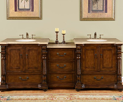 Silkroad Exclusive Countertop Travertine Stone Double Sink Bathroom Vanity with Modular Cabinet, 92-Inch (Bathroom Modular compare prices)