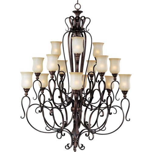 Maxim Lighting 21127MCFL Fifteen Light Filbert Mocha Cloud Glass Up Chandelier, Bronze