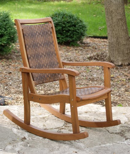 Outdoor Interiors 21095RC All Weather Wicker Mocha and Eucalyptus Rocking Chair photo