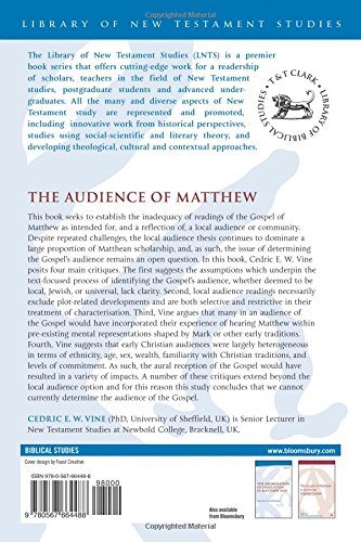 The Audience of Matthew (The Library of New Testament Studies)