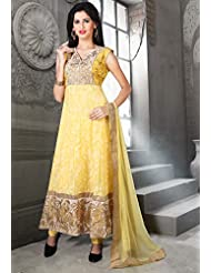 Utsav Fashion Women's Yellow Cotton Chanderi Readymade Anarkali Churidar Kameez-X-Small