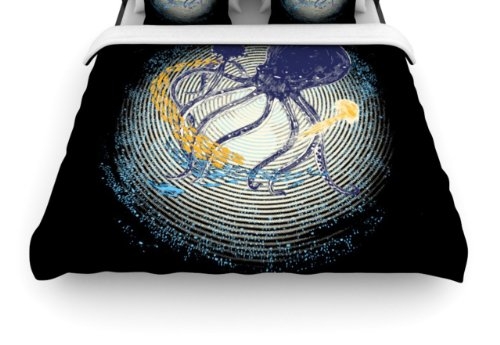 "Kess Inhouse Frederic Levy-Hadida Tentacular Trap ""Octopus"" 88 By 88-Inch Duvet, Queen back-953765"