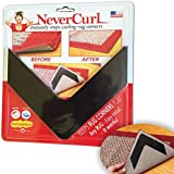 NeverCurl - Instantly Stops Rug Corner Curling. Safe for wood floors. For Indoor AND Outdoor Rugs. Includes 4 pcs. Made in USA.