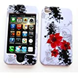 "Apple iPhone 4 & 4S Snap-on Protector Hard Case Image Cover ""Artistic Red Flowers"" Design"