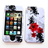 51CDurFIMnL. SL160  Apple iPhone 4 & 4S Snap on Protector Hard Case Image Cover Artistic Red Flowers Design