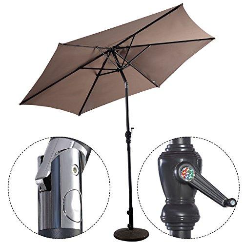 """GOPLUS 10FT Patio Umbrella 6 Ribs Market Steel Tilt W/ Crank Outdoor Garden """"Tan"""""""