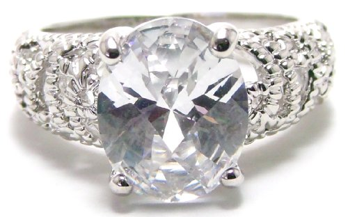 Vintage Micropavé & Oval 1 Carat Simulated White Diamond CZ Engagement Ring, Silver Color Rhodium Plating, Size 7