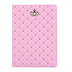 """iPad Air 2 Case, Lumsingâ""""¢ Smart Heavy Duty Rugged Bling Diamond Protective Stand Leather Flip Case Cover for Apple iPad Air 2 Case (iPad 6 2014 Model) Built in Screen Protector Set (Pink)"""