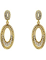 Donna Fashion White Fancy Oval Gold Plated Dangler Earrings With Crystals For Women ER30081G