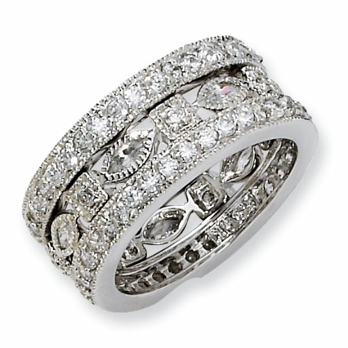 Sterling Silver Cubic Zirconia Eternity Three Ring Set (Size 6)