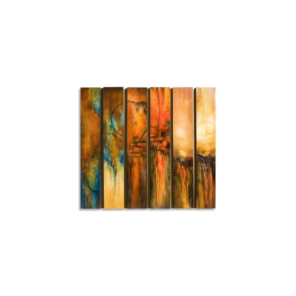 Modern Abstract Red Orange Long Painted Wall Panels