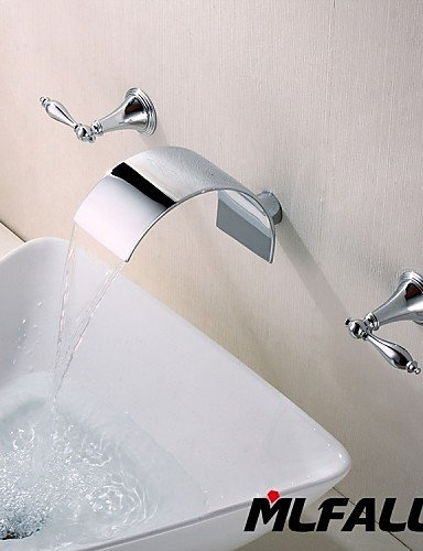 Tap Sanitary Fittings Three Holes Contemporary Widespread Wall Mount Waterfall 3 Pieces Bathroom Faucet,Durable Material construction,Easy to install (Brass Washing Machine Y Piece compare prices)