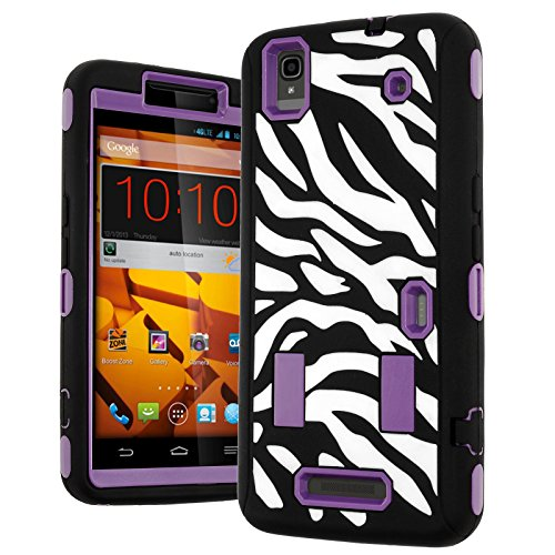 N9520 Case,ZTE Max Case,Heavy Duty Hybrid Shockproof Hard Soft Full-body Case Back Cover for Zte Max N9520 Boost (Zebra Printed Purple) (Boost Max Phone Protective Cases compare prices)