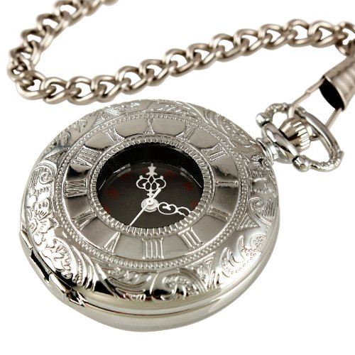 ESS Mens Stainless Steel Case Black Roman Numeral Antique Pocket Watch with Chain WP001