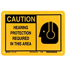 "Brady 21795 7"" Height, 10"" Width, B-401 Plastic, Black On Yellow Color Alert Sign, Legend ""Caution, Hearing Protection Required In This Area (With Picto)"""