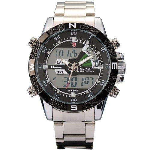 Shark Mens Digital Analog Lcd Chronograph Date Day Army Sport Quartz Watch + Box front-594428