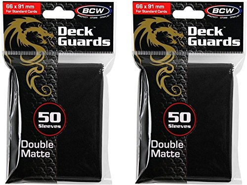 BCW 2 50ct Packs (100) Mat Deck Guard BLACK DOUBLE MATTE Finish for Standard Size Collectible Cards - Deck Protector Sleeves for MTG Magic the Gathering, Pokemon, L5R, WOW, [2-Pack Bundle] - 1