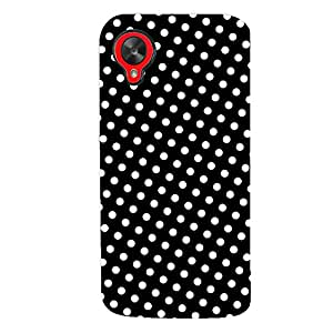ColourCrust LG Google Nexus 5 Mobile Phone Back Cover With Black and White Polka Dots Pattern Style - Durable Matte Finish Hard Plastic Slim Case