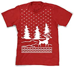 Youth Snow Falling Reindeer T Shirt ugly Christmas sweater tee for kids by Crazy Dog Tshirts