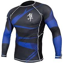 Hayabusa Metaru 47 Silver Rashguard Long Sleeve Shirt, Medium, Black/Blue