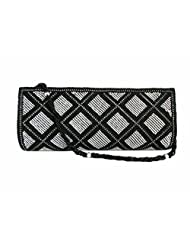 SMART PARTY WEDDING BLACK CLUTCH FITTED WITH BEADS AND DIAMANTE - B015KNVHX0