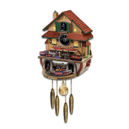 Train Cuckoo Clock: Golden Spike by The Bradford Exchange