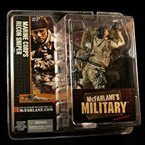 MARINE CORPS RECON SNIPER * AFRICAN AMERICAN VARIATION * McFarlane's Military Series 1 Action Figure & Display Base