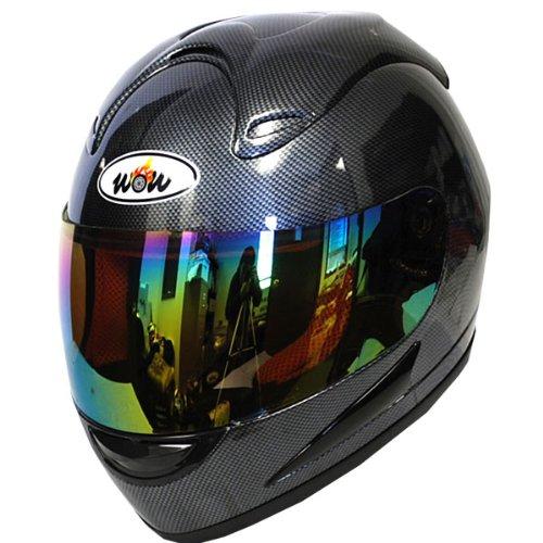 Wow Motorcycle Street Bike Full Face Helmet Carbon