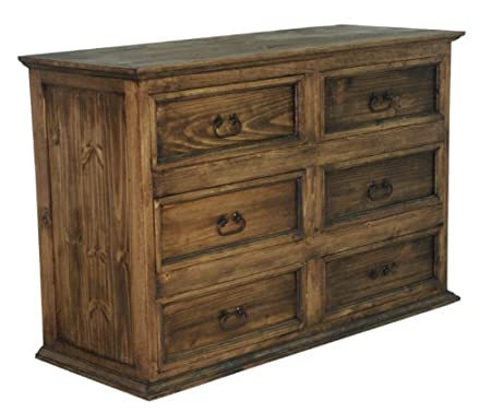 Rustic 6 Drawer Dresser With Dark Walnut Finish