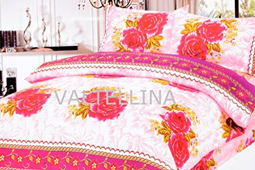 Valtellina Valtellina Attractive Pink Roses Print Double Bed Sheet