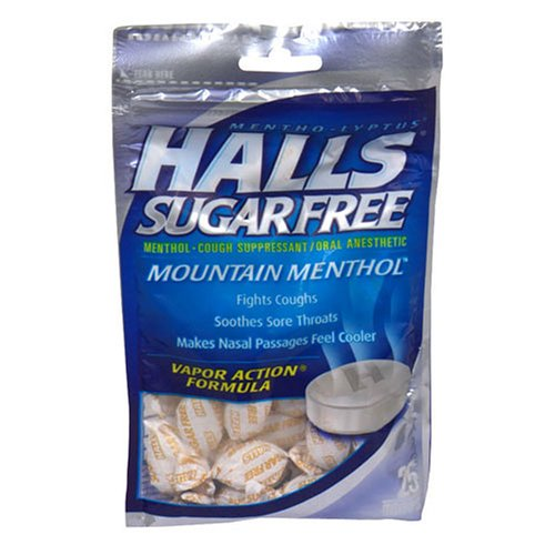Halls Sugar Free Cough Suppressant Drops, Mountain Menthol - 25 / Bag, 12 Bags